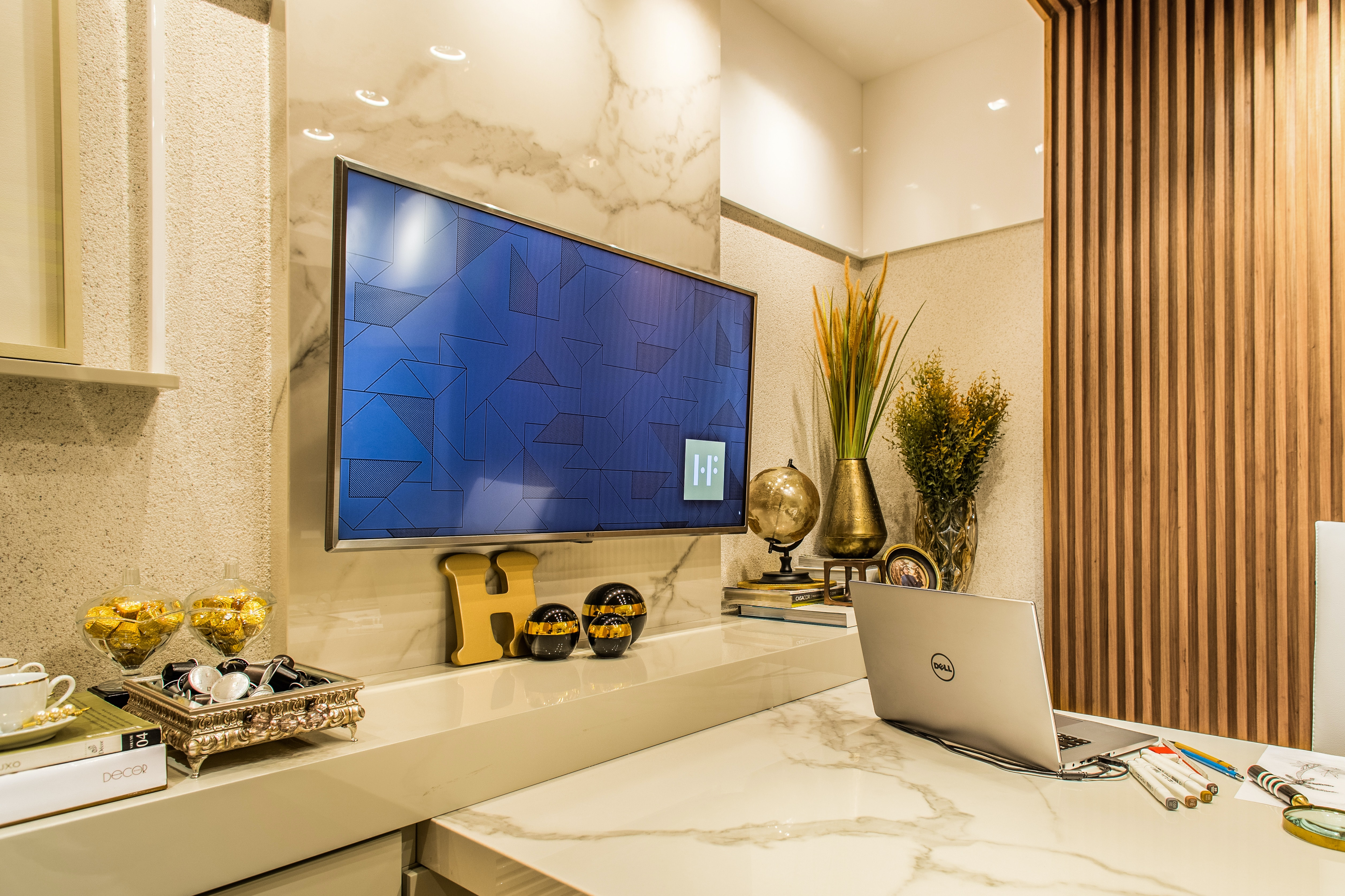 Office Lobby with TV and marble appearance